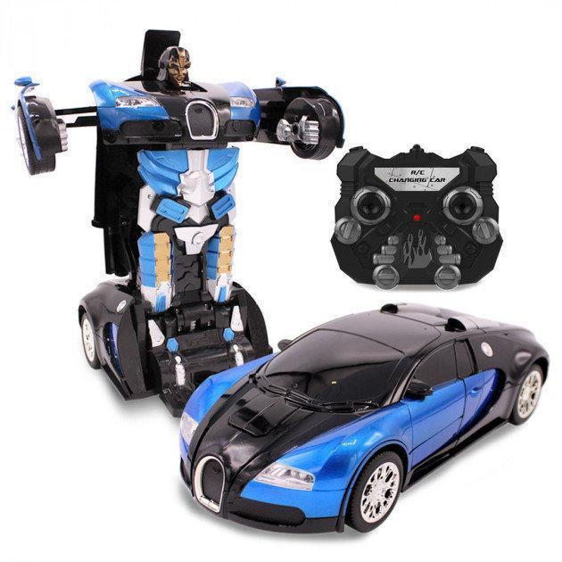 Купить Машинка Трансформер Bugatti Robot Car Size 18 СИНЯЯ   Робот-трансформер на радиоуправлении 1:18