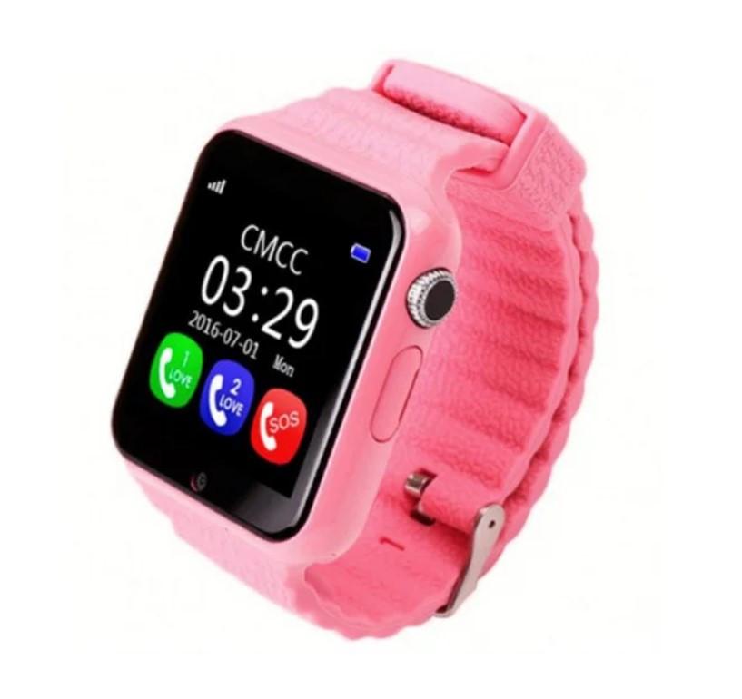 Купить Smart Watch V7K розовые   Умные детские часы с GPS трекером