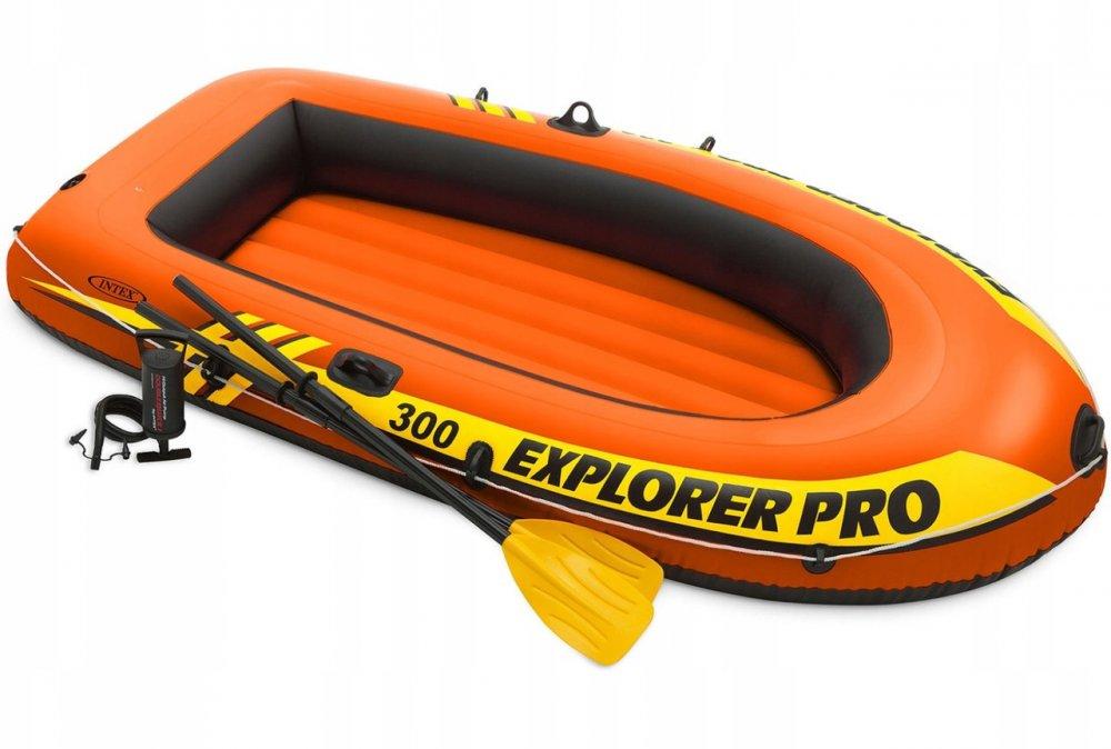 Купить Надувная лодка Explorer Pro 300 Set (до 200 кг) 244х117х36 см + весла,насос | Двухместная надувная лодка Intex