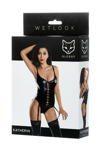 Купить Боди Glossy из материала wetlook на шнуровке, черный