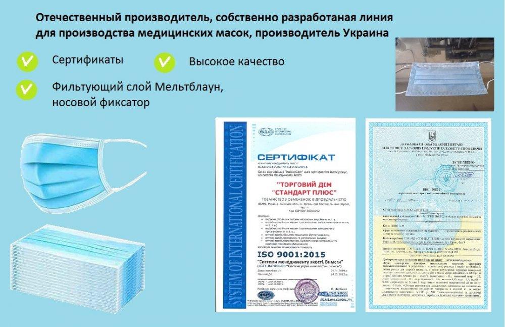 Медицинские маски высокого качества, трехслойные (производство Украина, сертифицированные)
