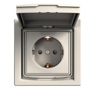 Купить Розетка с заземлением и шторками и крышкой Крем Asfora Schneider Electric, EPH3100323