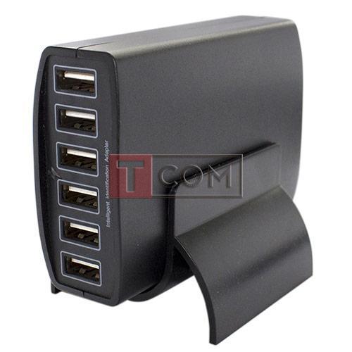 Купить Сетевая зарядка на 6 гн.USВ (AC 220V/ DC 5V 12A) на подставке c кабелем 1м