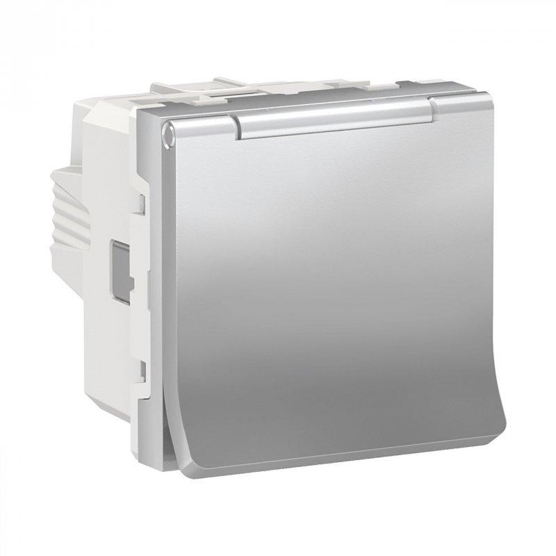 Купить Розетка с з/к со шторками и крышкой Алюминий Unica New Schneider Electric NU303730TA
