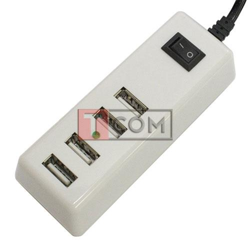 Купить Сетевая зарядка на 4 гн.USВ (AC 220V/ DC 5V 4.2A) c кабелем 1,5м белая