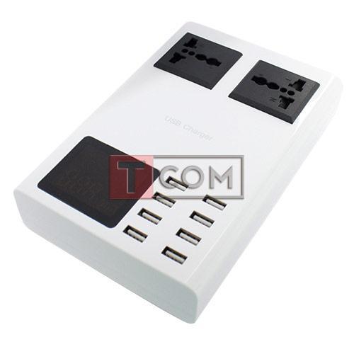Купить Сетевая зарядка на 8 гн.USВ c дисплеями (AC 220V/ DC 5V 8.2A) c кабелем 1.5м