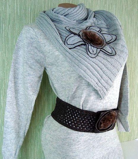 Купить Теплая туника с шарфом К119