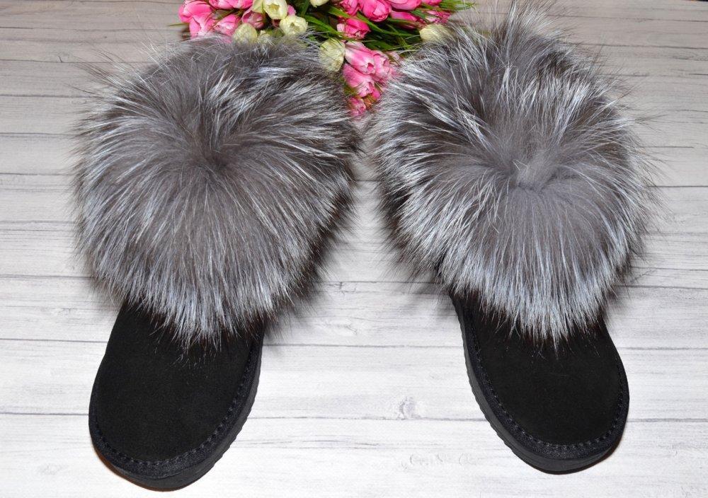 Купить Замшевые угги с натуральным мехом лисы чернобурки