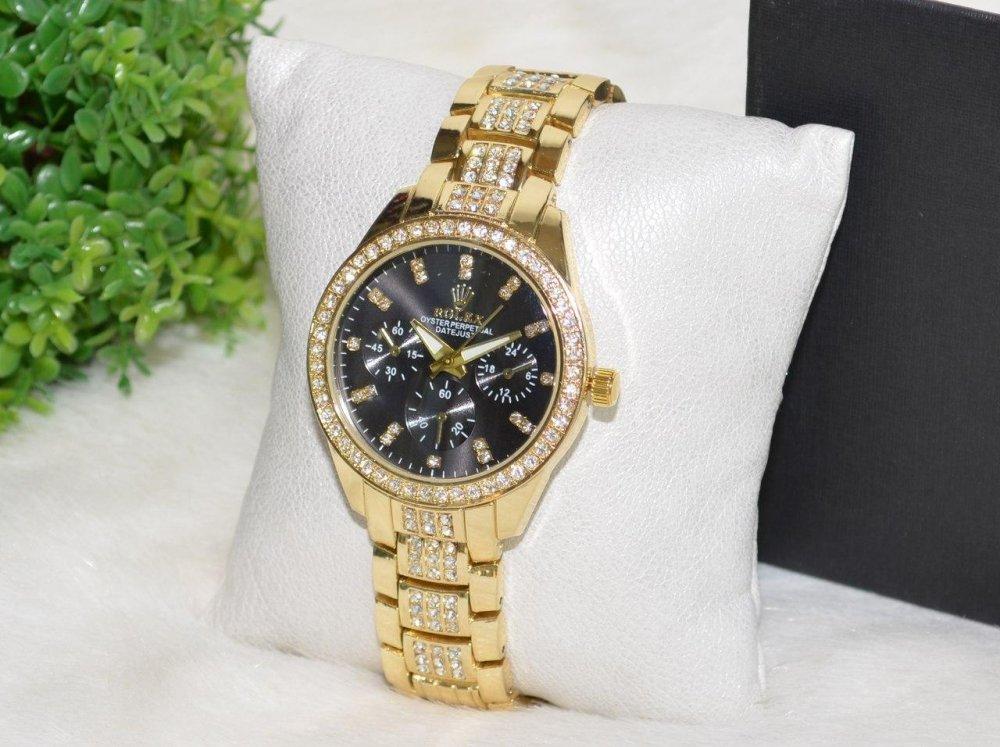 Купить Женские часы Ролекс (Rolex) стразы золотые с черным циферблатом