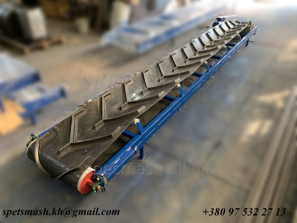Купить Конвейер ленточный, транспортер для сыпучих грузов желобчатого типа 5 метров. Шеврон рюмка.