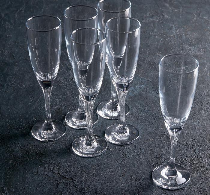 """Купить Набор бокалов для шампанского 150 мл """"Twist"""" 6шт."""