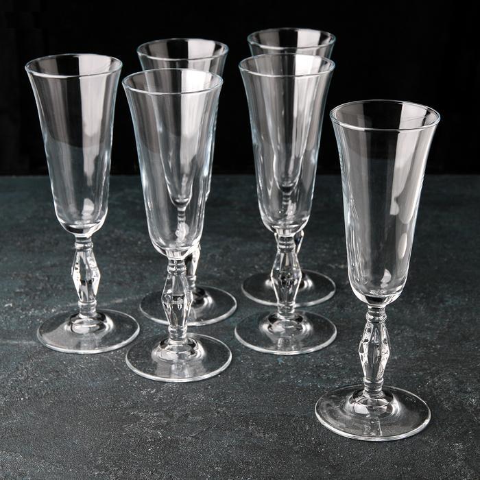 """Купить Набор бокалов для шампанского 190 мл """"Retro"""" 6 шт Pasabashe."""