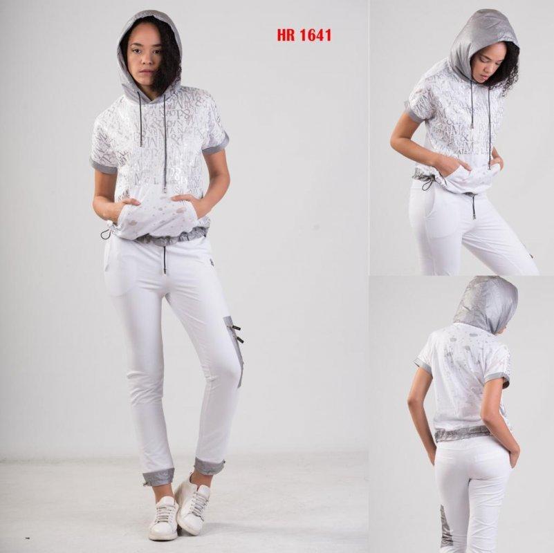 Купить Летний женский серый спортивный костюм с капюшоном Sogo (Турция) HR 1641