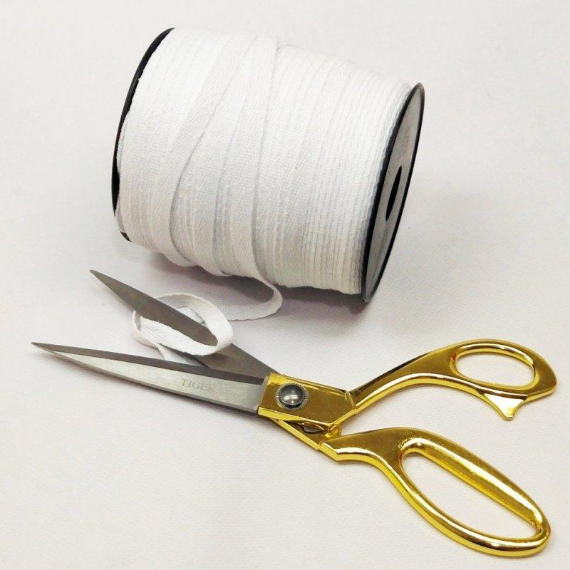Белая хб киперная лента 1 см на отрез кратно 1 м. (6-БК-700)