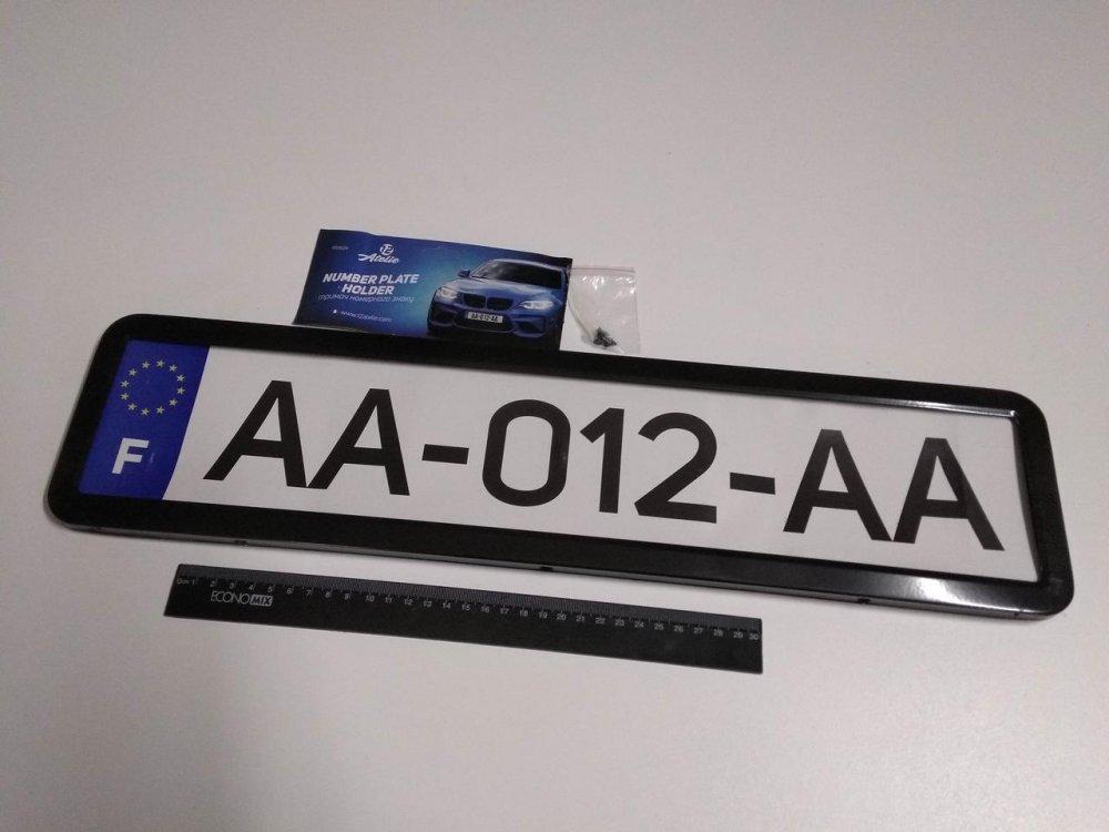 Купить Рамка номерного знака (1 шт.) 12 Atelie (951624) металлическая/черный глянец