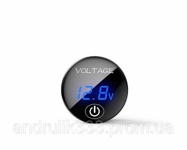 Купить Вольтметр + % с сенсорной кнопкой круглый СИНИЙ