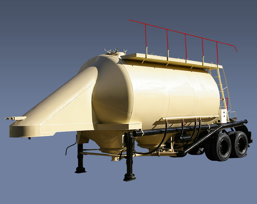 Buy The ASP-25 semi-trailer with pneumounloading for transportation of grain products, flour, compound feeds, premixes, cement, is aggregated with the truck KAMAZ-54112, MAZ tractor