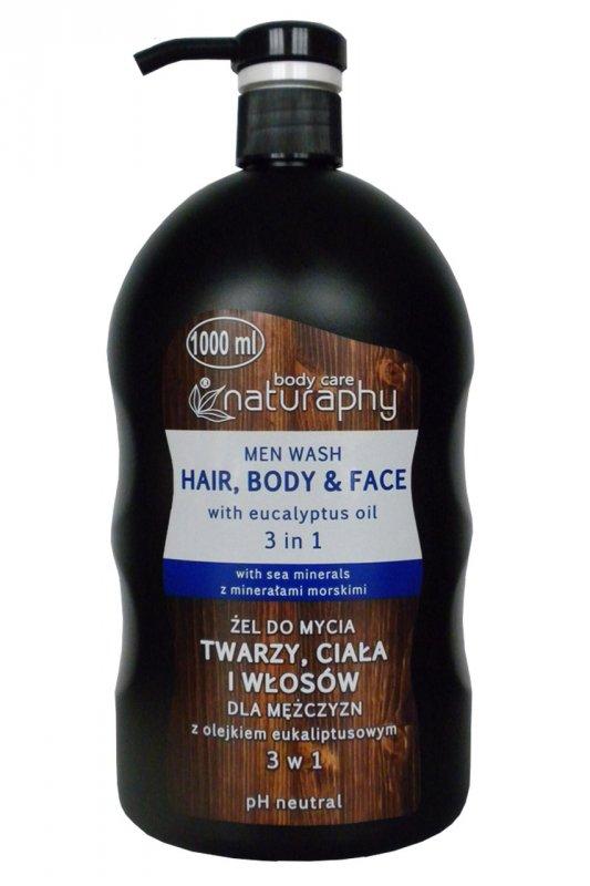 Гель-шампунь Unice Naturaphy для лица, тела и волос с маслом эвкалипта для мужчин , 1000 мл