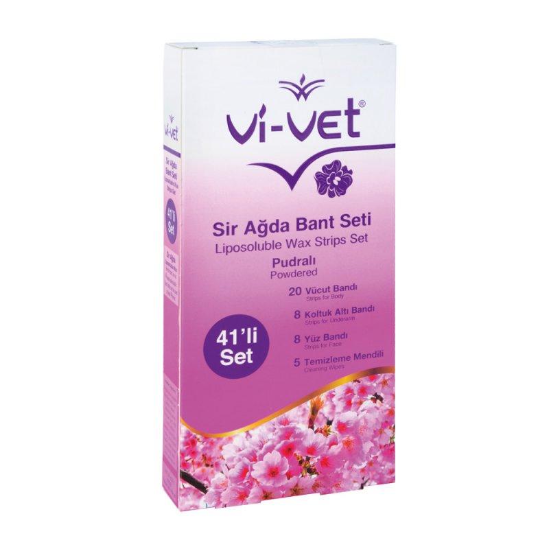 Набор восковых полосок Unice Vi-Vet для депиляции с тальком , 41 шт