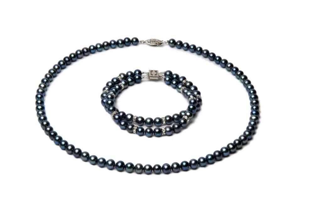 Купить Ожерелье и браслет из черного жемчуга