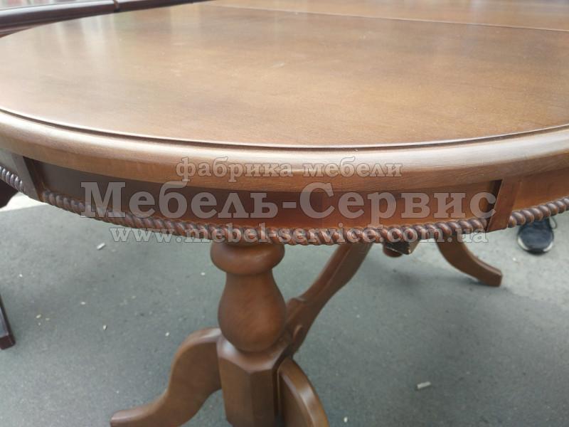 Купить Кухонный стол из дерева Ясень, 900х600 мм. на одной ноге. Вставка 300 мм., Стандартная раскладка
