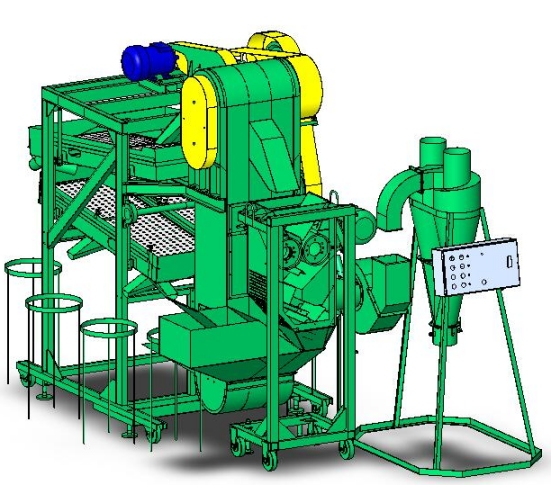 The equipment for processing of grain on grain