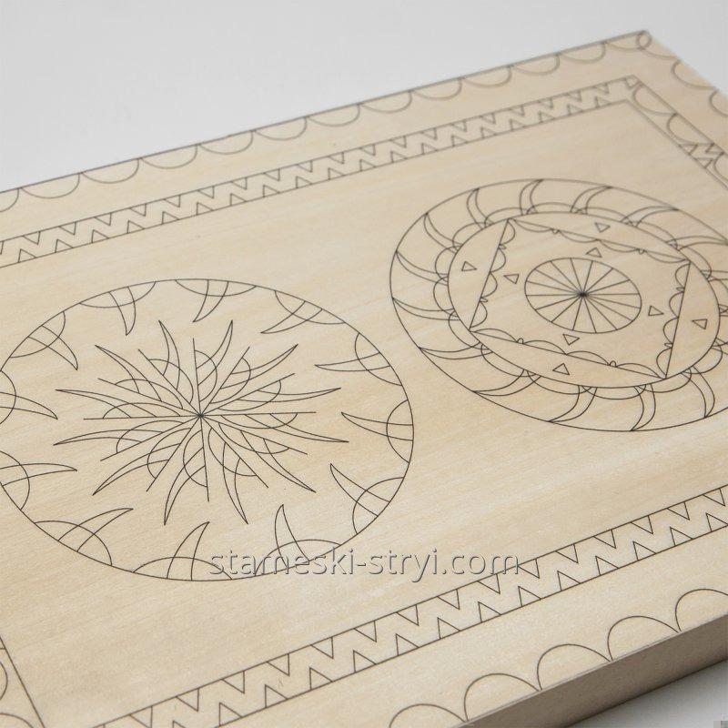 Липовая заготовка доски с чертежем размер 300*200*20мм для резьбы, арт.LD-19