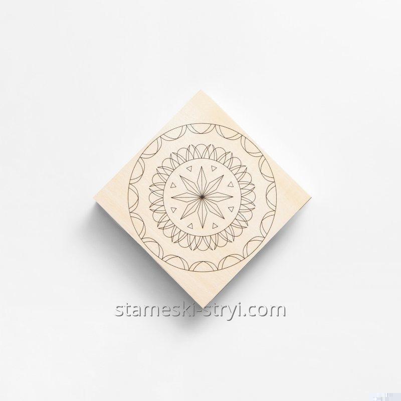 Липовая заготовка доски с чертежем размер 100*100*20мм для резьбы и декупажа, арт.LD-13