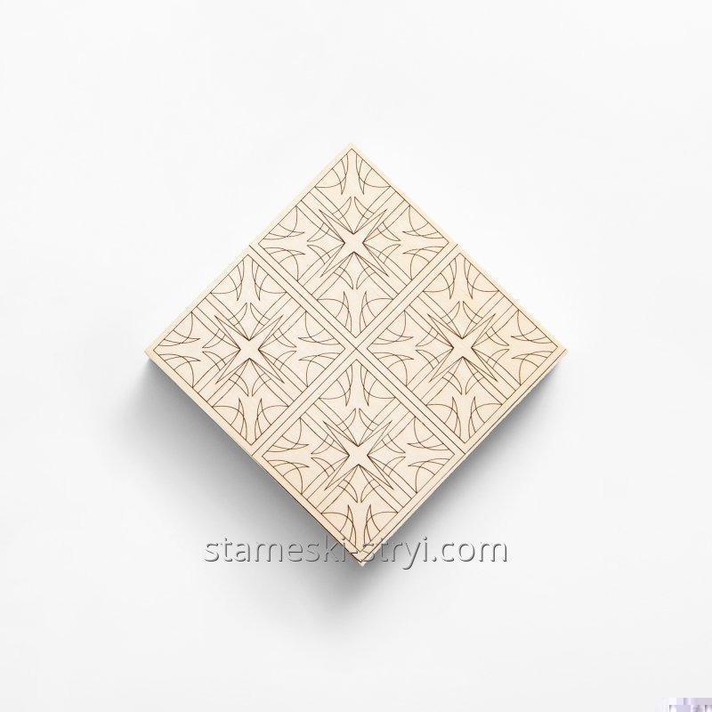 Липовая заготовка доски с чертежем размер 100*100*20мм для резьбы и декупажа, арт.741010
