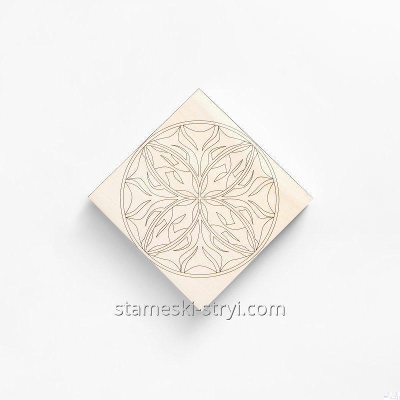 Липовая заготовка доски с чертежем размер 100*100*20мм для резьбы и декупажа, арт.LD-16