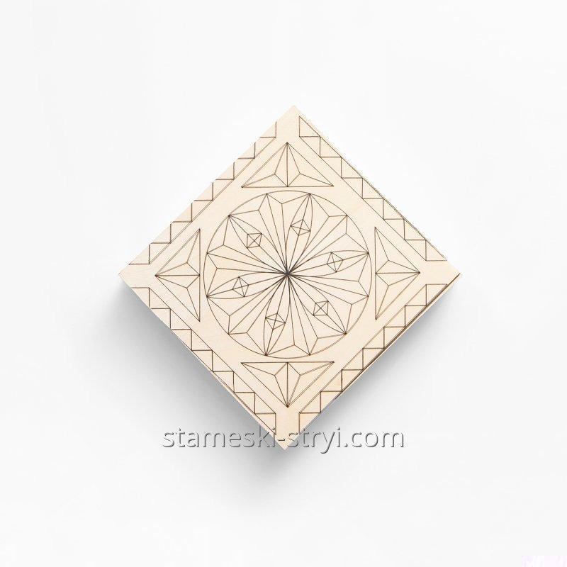 Липовая заготовка доски с чертежем размер 100*100*20 мм для резьбы, арт.LD-11