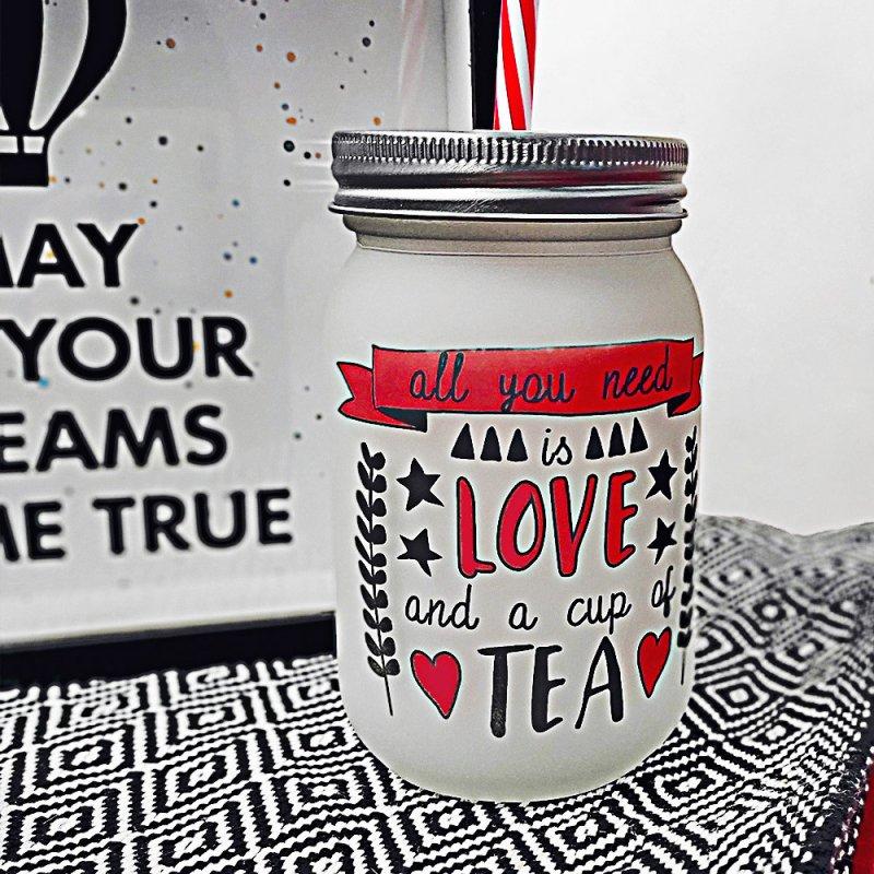 Купить Банка c трубочкой Джар All you need is love and a cup of tea подарок на день рождения