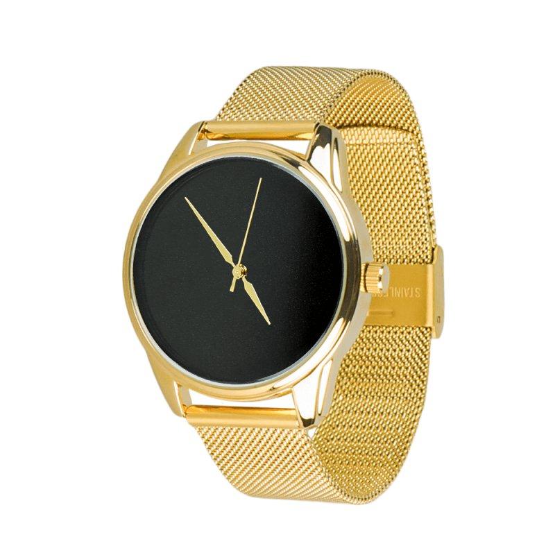 Купить Часы ZIZ Минимализм черный (ремешок из нержавеющей стали золото) + дополнительный ремешок подарки на день