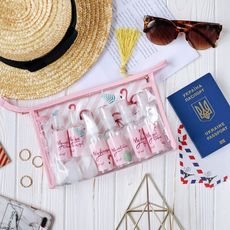 Купить Косметичка для путешествий My travel pack с емкостями для косметики подарки на день рождения