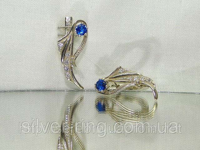 Купить Нежные сережки из серебра с синим и белыми цирконьчиками