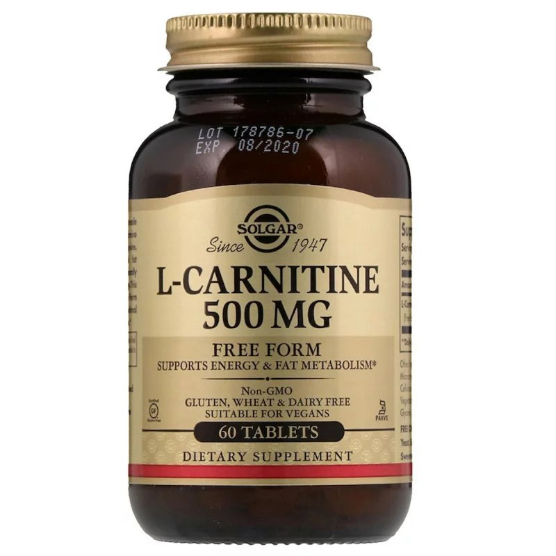 Купить L- Карнитин, L-Carnitine, Solgar, 500 мг, 60 таблеток