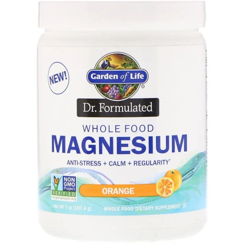 Купить Магниевый порошок, шипучий напиток со вкусом апельсина, Whole Food Magnesium Powder, Dr. Formulated, Garden of