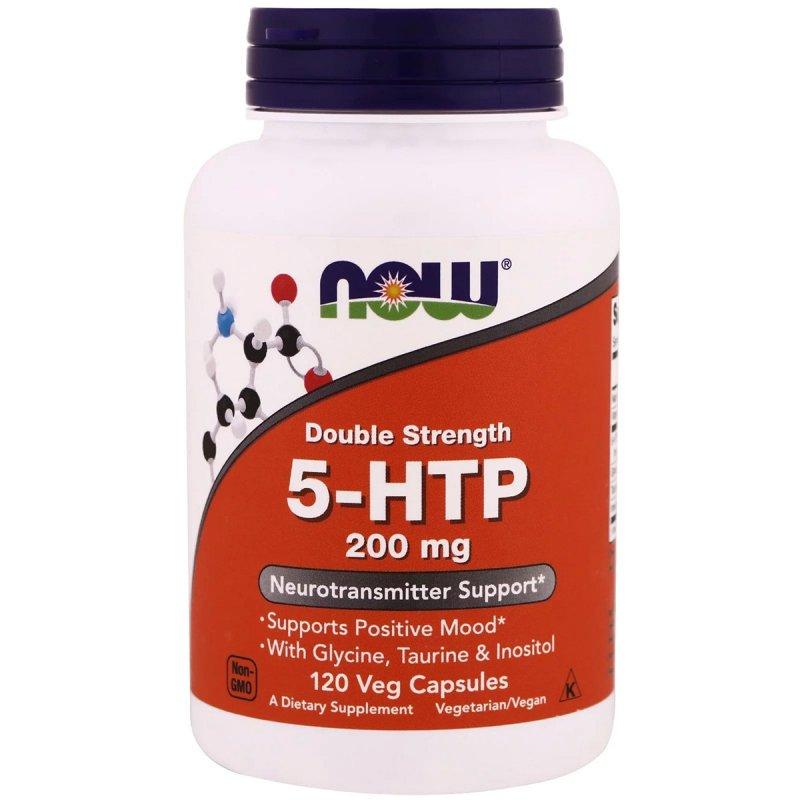 Купить 5-HTP (Гидрокситриптофан), Двойная Сила, 200 мг, Now Foods, 120 гелевых капсул