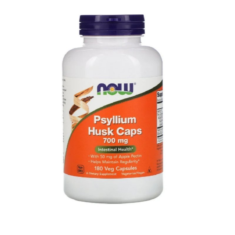 Подорожник (Псилиум), Psyllium Husks, Now Foods, 700 Мг, 180 Капсул