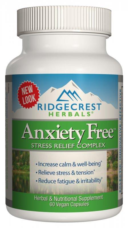 Купить Комплекс для Снижения Стресса, Anxiety Free, RidgeCrest Herbals, 60 гелевых капсул