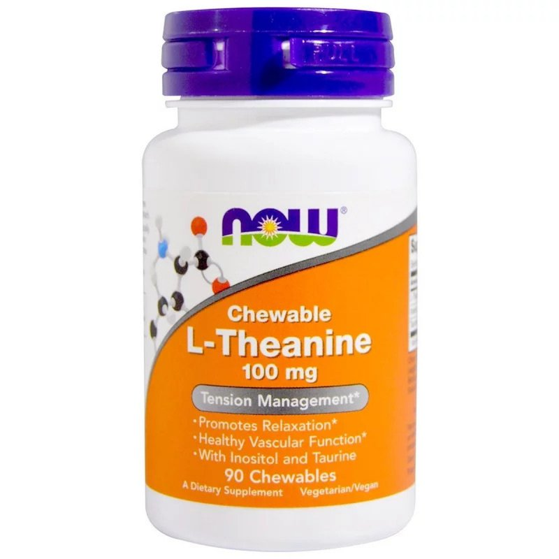 Купить L-Теанин, L-Theanine, Now Foods, 100 мг, 90 жевательных таблеток