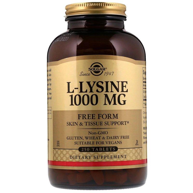 Купить Лизин 1000 мг, L-Lysine, Solgar, 250 таблеток