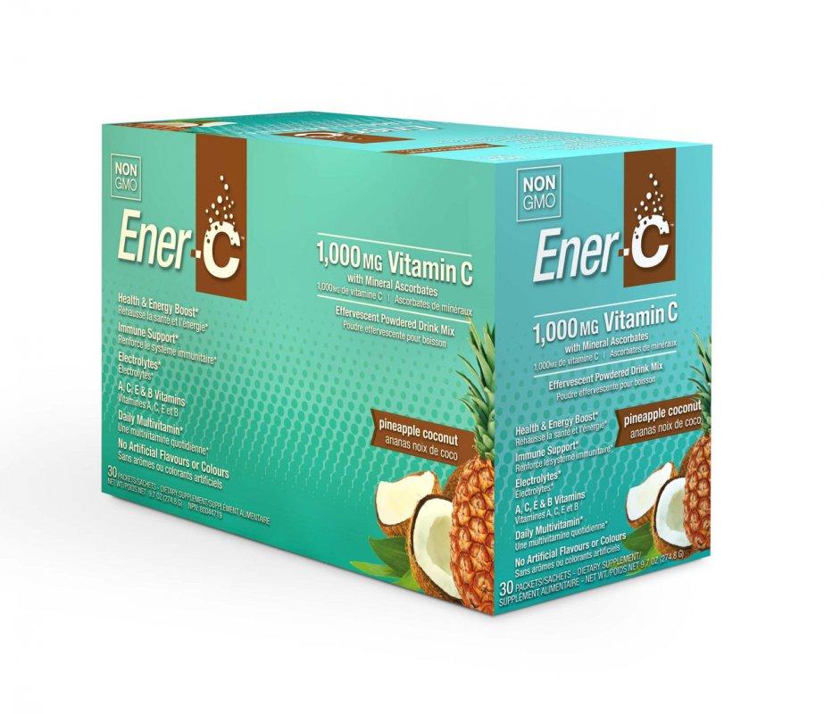 Купить Витаминный Напиток для Повышения Иммунитета, Вкус Ананаса и Кокоса, Vitamin C, Ener-C, 30 пакетиков