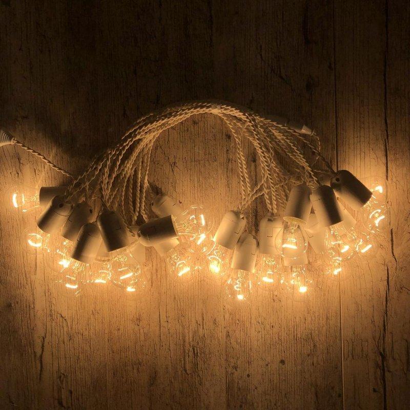 Купить Ретро гирлянда для помещений Alphatrade, 15 метров 30 ламп накаливания, белая
