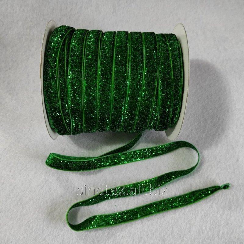 Бархатная лента с люрексом декоративная (1см.) моток 46м., зеленая (657-Л-0764)