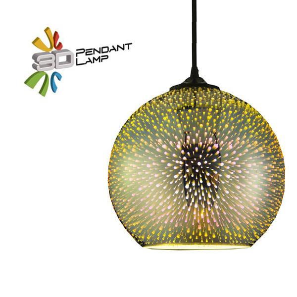 Светильник подвесной Horoz Electric QUANTUM-1 3D-эффектшар цвет-хром E27