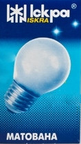 """Лампа накаливания """"шарик"""" ДШМТ 230-25 Вт Е14 матовая колба"""