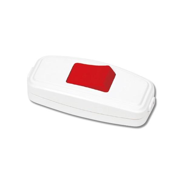 Выключатель для бра, белый с красной кнопкой