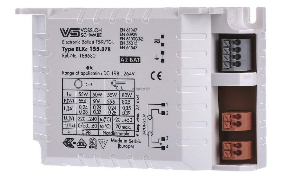 Балласт Vossloh-Schwabe ELXc 155.378 (TC-L 1 x 55/80 W, T-R5 1 x 55/60 W)