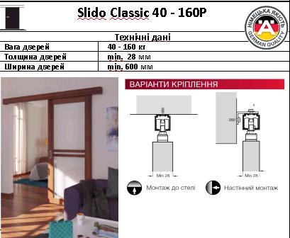 Купить Раздвижные системы Slido Classic 40 - 160P без амортизатора